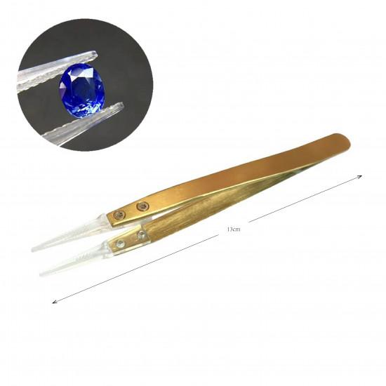 Transparent Gemstone & Diamond Tweezers with Grooved Tip-Achromatic