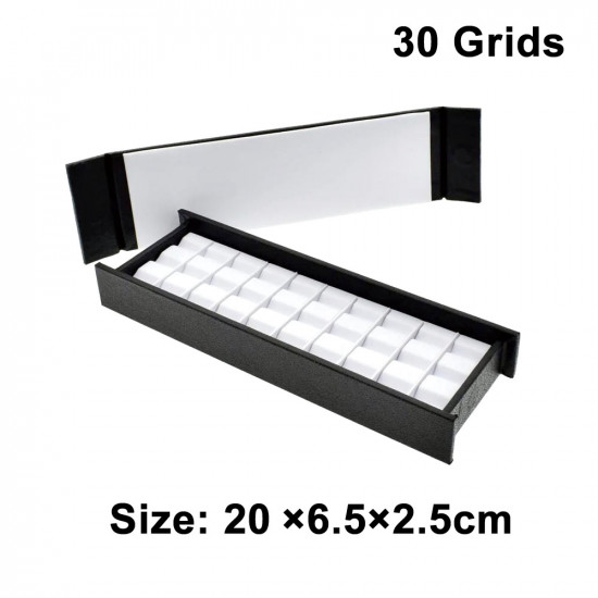 Leather PU Diamond & Gemstone Display Tray Box With Magnetic Cover