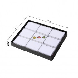 9 Gemstone Tray with Rectangle Containers-White